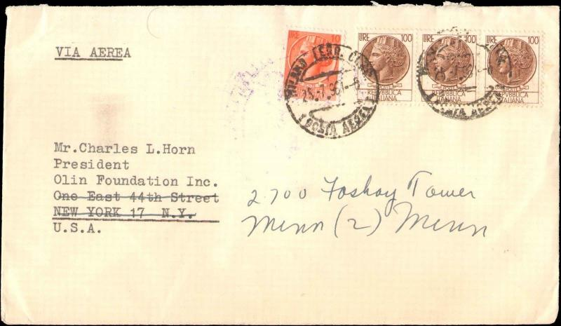 1961 ITALY MULTI STAMP TO UNITED STATES  FORWARDED