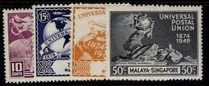 SINGAPORE GVI SG33-36, anniversary of UPU set, NH MINT. Cat £10.