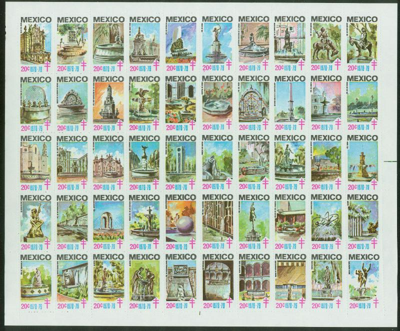 MEXICO 1978-79 TB SEALS FULL SHEET OF 50. FOUNTAINS. MNH. F-VF.