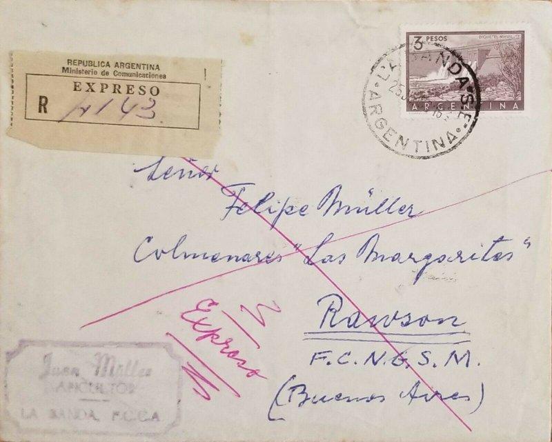 A) 1936, ARGENTINA, FROM LA BANDA TO BUENOS AIRES, EXPRESS, DIQUE EL NIHUIL STAM