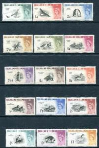 FALKLAND ISLANDS-1960-66 Birds Set to £1 Sg 193-207 MOUNTED MINT V30336