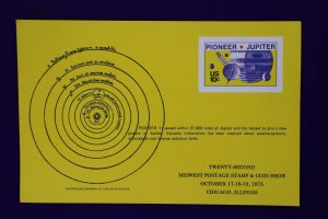 Midwest stamp show 75 1556 reprint Pioneer Jupiter space probe Souvenir card