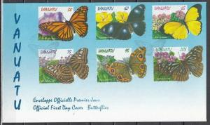 Vanuatu, Scott cat. 721-726. Butterflies issue on a First day cover.
