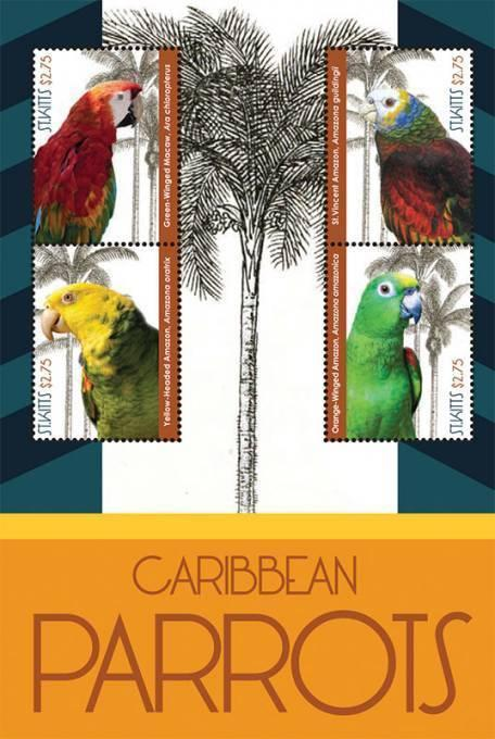 St Kitts - Caribbean Parrots on Stamps - 4 Stamp  Sheet STK1210H