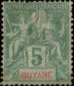 French Guiana Scott 35 Unused with tiny thin.