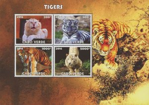 Cape Verde Tigers Wild Animals Souvenir Sheet of 4 Stamps Mint NH