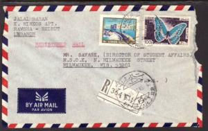 Lebanon to Milwaukee WI 1965 Registered Cover