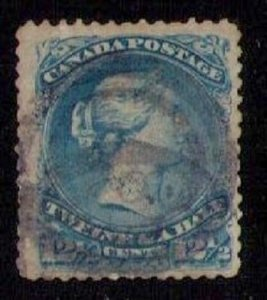 Canada Scott #28 Used (1868) Deep Blue F-VF Cat.$160