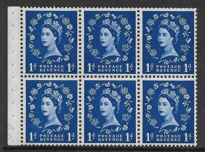 SB49 1d Wilding booklet pane Violet 8mm perf type I UNMOUNTED MNT