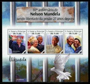SAO TOME  2020 30th PRISON LIBERATION ANN OF NELSON  MANDELA  SHEET  MINT NH