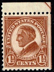 US STAMP #553 – 1925 1 1/2c Harding, yellow brown MNH/OG