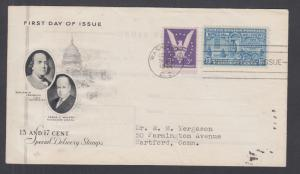 US Sc E17 FDC. 1944 13c blue Special Delivery, ArtCraft cachet, addressed