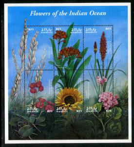 MALDIVES 2490 MNH S/S SCV $7.00 BIN $4.25 FLOWERS