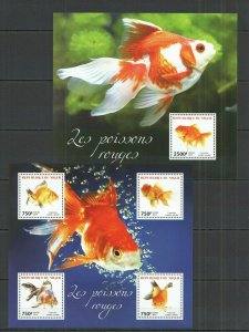 ST2732 2014 NIGER FAUNA GOLD FISH & MARINE LIFE LES POISSONS ROUGES KB+BL MNH
