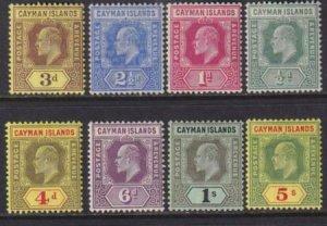 Cayman Islands 1907-1909 SC 21-28 MLH/MNH Set