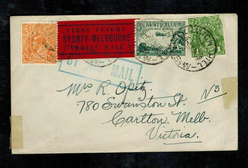 1931 Sydney to Melbourne Australia First Flight Cover FFC # C1