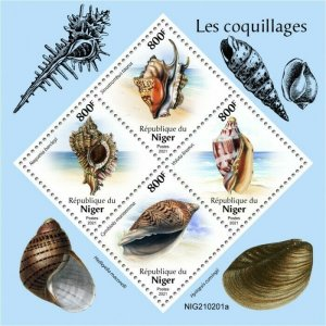 Niger 2021 MNH Seashells Stamps Sea Shells Cymbiola Voluta Marine 4v M/S