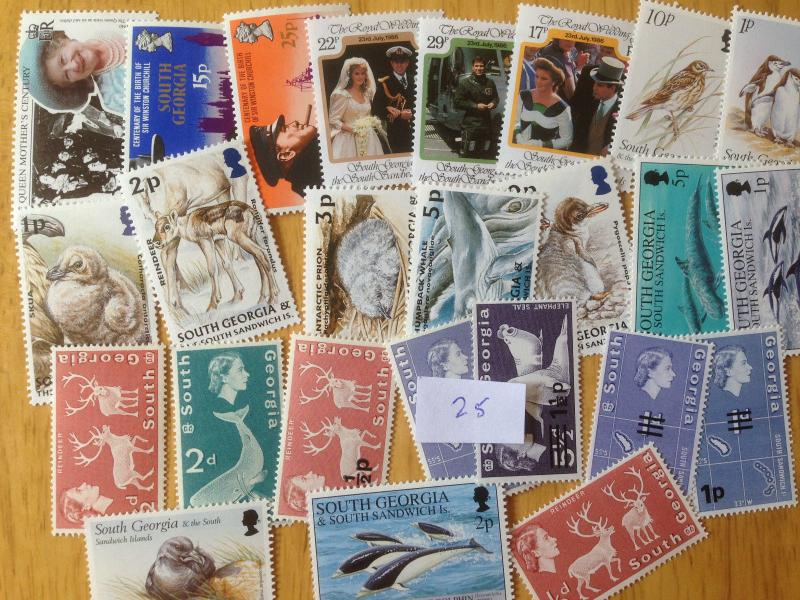 25 Different South Georgia/Sandwich Islands Stamp Collection