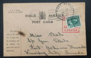 1915 Field post Canada Censored Postcard Free Postage Cover To Winnipeg