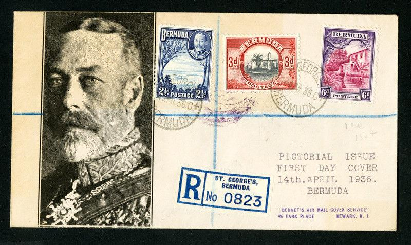 Bermuda Cover 1936 Rare Reg FDC w/ Stamps & 3x backstamps