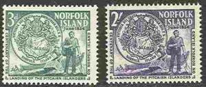 Norfolk Is. # 19-20 First Settlers   (2)  Mint NH