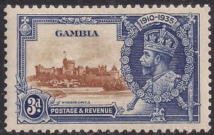 Gambia 1935 KGV 3d Deep Blue & brown Silver Jubilee MM SG 144  ( F53 )