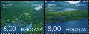 Faroe Islands 2001 #401-2 MNH. Lakes, Europa