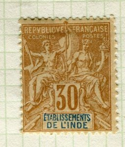 FRENCH INDIA; 1892 classic early 'Tablet' issue Mint hinged 30c. value