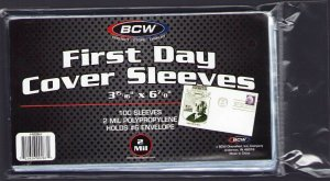 100 STANDARD  FIRST DAY COVERSLEEVES 3-15/16 x 6-7/8 CRYSTAL CLEAR BCW