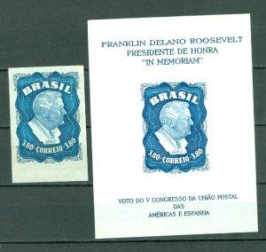 BRAZIL ROSEVELT #76 & #76a..IMPERF & SOUV. SHEET...MNH...$30.00