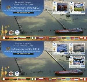 Trinidad & Tobago 2018 FDC GECF Gas Exporting Countries 5v on 2 Covers Stamps