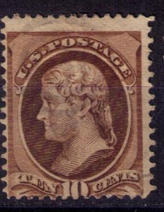 US Sc 150  Used 10c Dark Brown Lightly Cancelled Fine