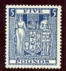 New Zealand 1931 Arms Postal Fiscal £5 indigo-blue superb MNH. SG F168.