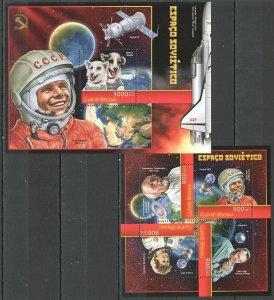 BC569 2012 GUINEA-BISSAU SOVIET SPACE EXPLORATION GAGARIN TERESHKOVA BL+KB MNH