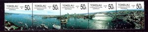 Tokelau Is 150 MNH 1988 strip of 5 (been folded)    (ap4310)