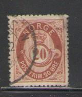 Norway Sc 27 1877 12 ore or brn post horn stamp used
