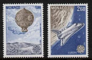 Monaco 1368-9 MNH Space Shuttle, Balloon, EUROPA