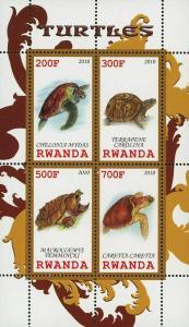 Rwanda Turtle Ocean Fauna Marine Life Souvenir Sheet of 4 Stamps Mint NH