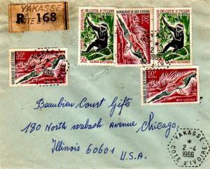 Ivory Coast 50F Black-and-White Colubus Monkey (2) and 30F Namaqua Dove (3) 1...