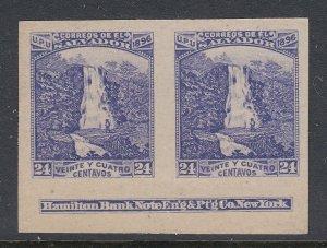El Salvador 1896 24c Waterfall Violet Plate Proof Imprint Pair. Scott 157K var