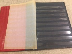 Red Polish Klaser Stock Book 24 (12x2) 9-row Black Pages Used  See description