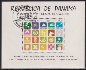 Panama 1968 Sc 495i Mexico Summer Olympics Sport Event Symbols Stamp SS CTO NH