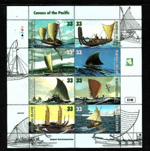 Marshall Is.-Sc#690-unused NH sheet-Canoes of the Pacific-1999-