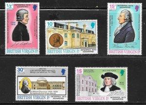 British Virgin Islands  (1973)  - Scott # 249 - 253, MNH