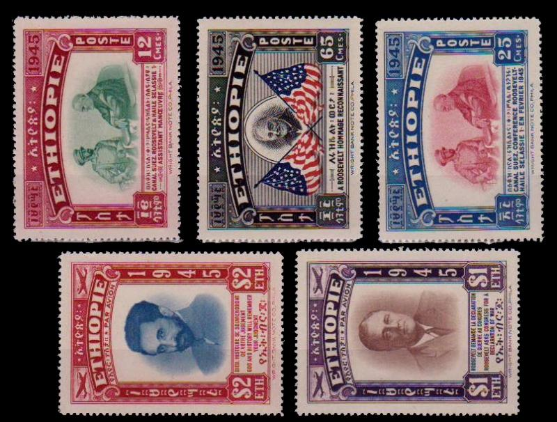 (066) Ethiopia / 1947 / Roosevelt / mnh Michel 230-234