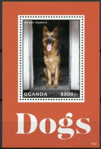 Uganda Dogs Stamps 2013 MNH German Shepherd Pets Domestic Animals 1v S/S I