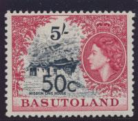 Basutoland  SG 67   Mint hinged - Opt surcharge  Type I