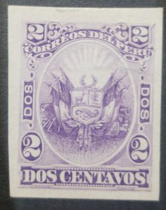 O) 1874 PERU , DIE PROOF SCARSE, COAT OF ARMS SCT 22, 2C dk violet,SUN ALLUSION