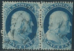 #22 USED PAIR RIGHT STAMP TRIMMED POS.38-39L4 W/ APS CERT VF-XF CV $1,100 HV8503