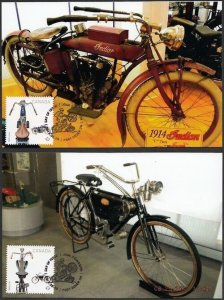 CANADA # 2647-8, SET of 2 MAXICARDS: 1914 INDIAN MOTORCYCLE & 1908 CC MOTORCYCLE